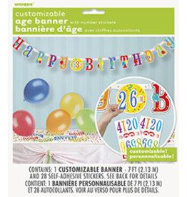 unique Happy Birthday Custom Age Banner - 7ft.