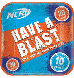 """Amscan Nerf 9"""" Square Plates - 8ct."""
