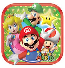 "Amscan Super Mario 7"" Sq. Plates - 8ct."
