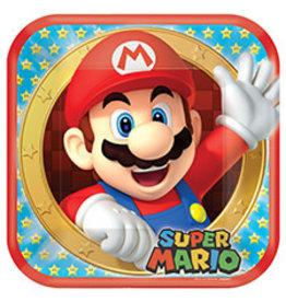 "Amscan Super Mario 9"" Sq. Plates - 8ct."
