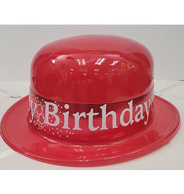 Beistle Red Happy Birthday Plastic Derby Hat