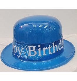 Beistle Blue Happy Birthday Plastic Derby Hat
