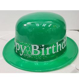 Beistle Green Happy Birthday Plastic Derby Hat