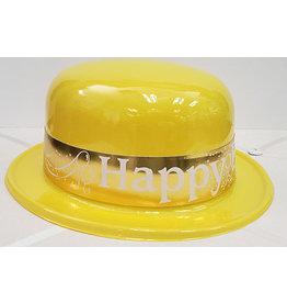 Beistle Yellow Happy Birthday Plastic Derby Hat