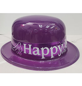 Beistle Purple Happy Birthday Plastic Derby Hat