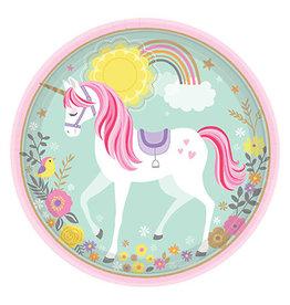 "Amscan Magical Unicorn 9"" Plates - 8ct."