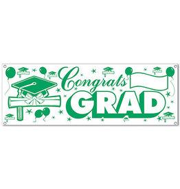 Beistle Green Congrats Grad Sign Banner - 5ft.