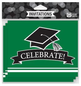 creative converting Green Grad Invites - 25ct.
