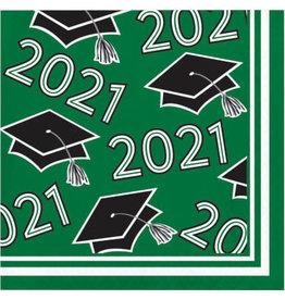 creative converting Class of 2021 Green Bev Napkin - 36ct.