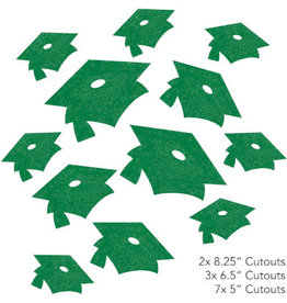 creative converting Green Glitter Grad Cap Cutouts - 12ct.