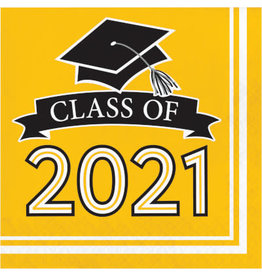 creative converting Class Of 2021 Yellow Lunch Napkins - 36ct