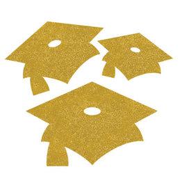 creative converting Yellow Mortarboard Glitter Cutouts - 12 ct
