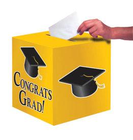 "creative converting Yellow Congrats Grad Card Box - 9""x9"""