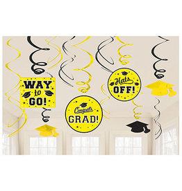 Amscan Yellow Grad Swirls - 12ct.