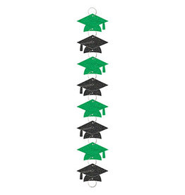 Amscan Green/Black Grad Hat Garland w/ Rings - 9ft.