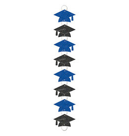 Amscan Blue/Black Grad Hat Garland w/ Rings - 9ft.