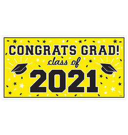 Amscan Yellow Class of '21 Banner - Over 5' Long