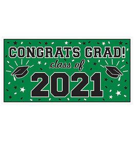 Amscan Green Class of '21 Banner - Over 5' Long