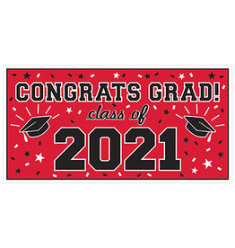 Amscan Red Class of '21 Banner - Over 5' Long