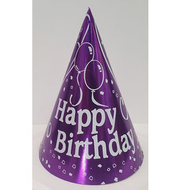 party time Small Happy Birthday Cone Hat - Purple