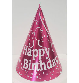 party time Small Happy Birthday Cone Hat - Pink
