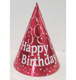 party time Small Happy Birthday Cone Hat - Red