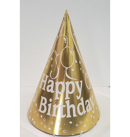 party time Small Happy Birthday Cone Hat - Yellow