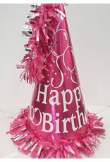 """party time 15"""" Happy Birthday Cone Hat w/ Tassle - Pink"""