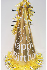 """party time 15"""" Happy Birthday Cone Hat w/ Tassle - Yellow"""