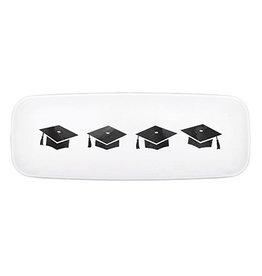 """Amscan Grad Hat White Platter - 17.5"""""""