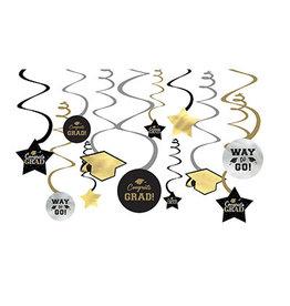 Amscan Black/Silver Congrats Grad Swirls - 12ct.