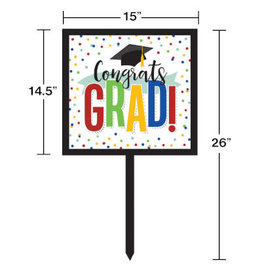 creative converting Colorful Grad Lawn Sign