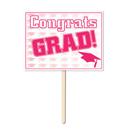 Beistle Pink Congrats Grad Lawn Sign