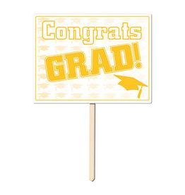 Beistle Gold Congrats Grad Yard Sign