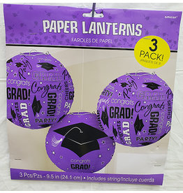 Amscan Purple Congrats Grad Lanterns - 3ct.