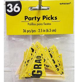 Amscan Yellow Grad Picks - 36ct.