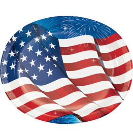 creative converting Fireworks and Flags Oval Platter - 8ct.