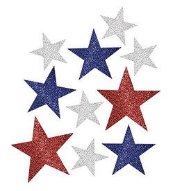 Amscan Patriotic Glitter Star Cutouts - 10ct.