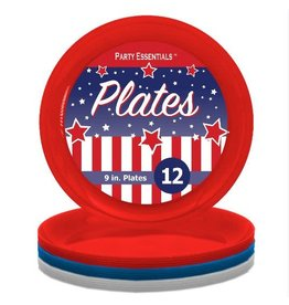 "northwest Red, White, Blue 9"" Plates - 12ct."