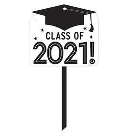 Amscan White Class of 2021 Yard Sign