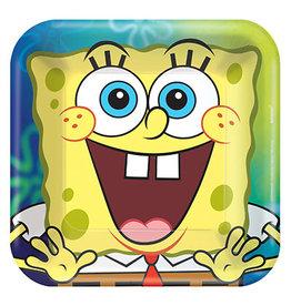 "Amscan SpongeBob 7"" Sq. Plates - 8ct."