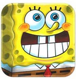 "Amscan SpongeBob 9"" Square Plates - 8ct."