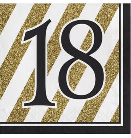 creative converting Black & Gold '18' Lunch Napkins - 16ct.