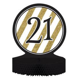 creative converting Black & Gold '21' Honeycomb Centerpiece