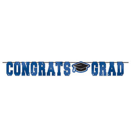 Amscan Blue Congrats Grad Foil Banner - 12ft.