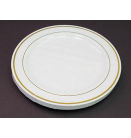 """Paper  First Affiliates Premium White w/ Gold Rim 9"""" Plates - 8ct."""