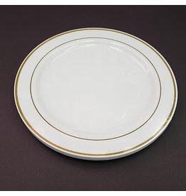 """Paper  First Affiliates Premium White w/ Gold Rim 10.5"""" Plates - 8ct."""