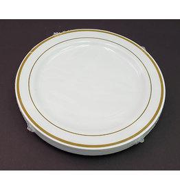 """Paper  First Affiliates Premium White w/ Gold Rim 7.5"""" Plates - 10ct"""