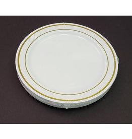 """Paper  First Affiliates Premium White w/ Gold Rim 6"""" Plates - 12ct."""