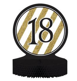 creative converting Black & Gold '18' Honeycomb Centerpiece